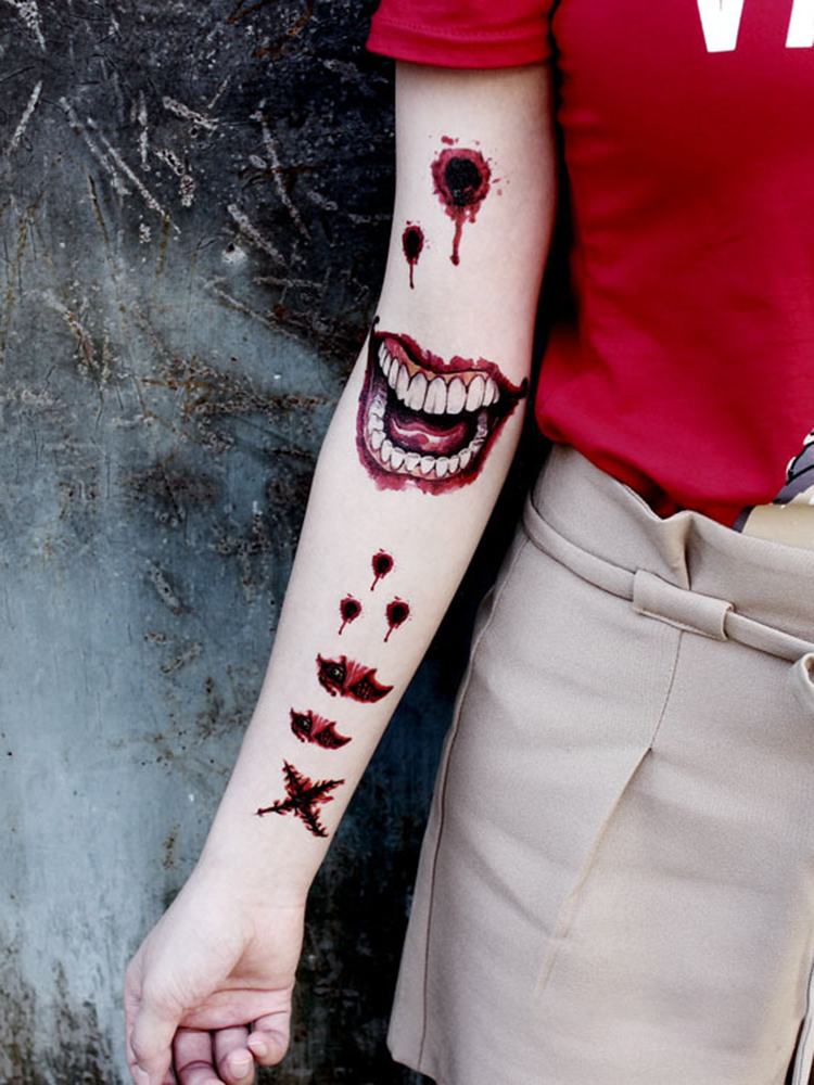 Halloween Temporary Tattoo Sticker Party Atmosphere Props Horror Wound Scars Tattoo Transfer Paper